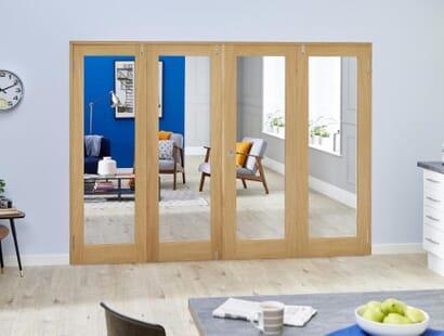 Prefinished Glazed Oak Shaker Frenchfold Room Divider Image
