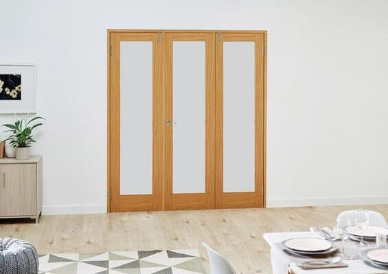 Prefinished Oak Frosted Folding Room Divider 7ft (2142mm) set