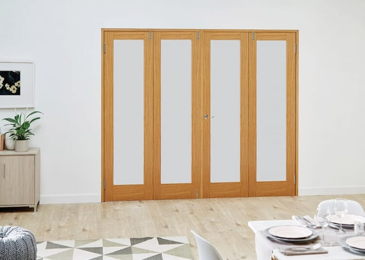 Prefinished Oak French Folding Room Divider - Frosted Image