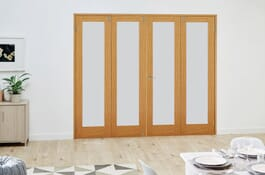 Glazed Oak Frosted Prefinished FrenchFold Doors Image