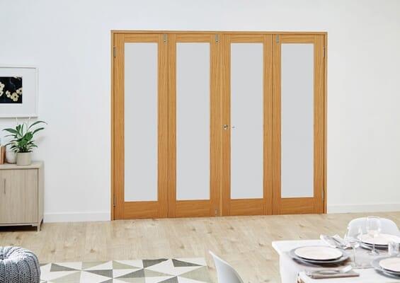 Prefinished Oak French Folding Room Divider - Frosted