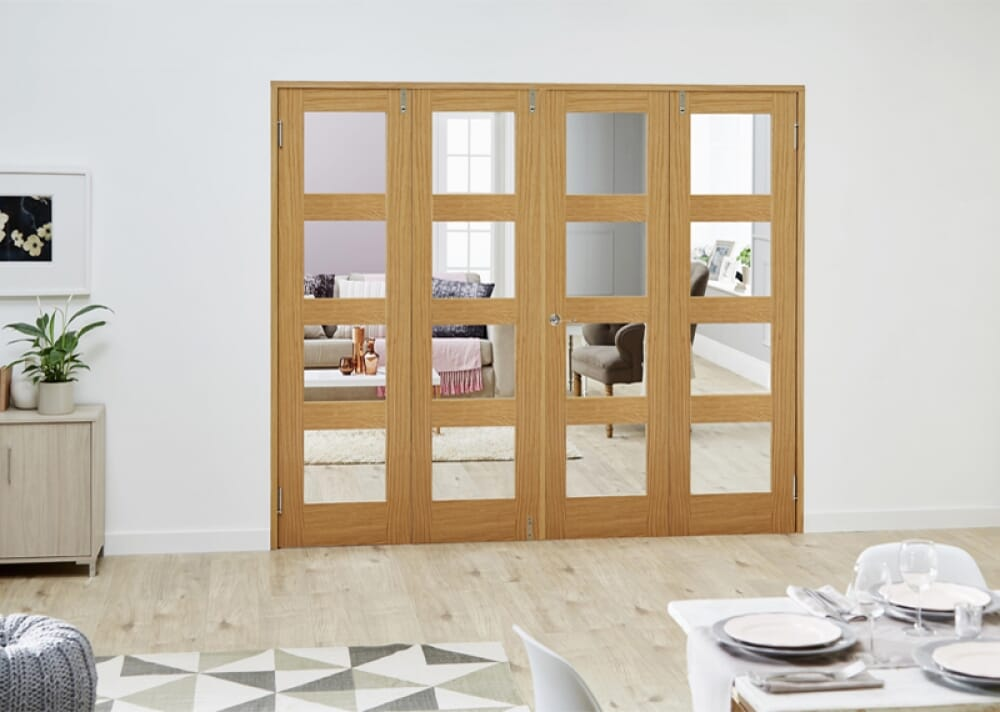 Prefinished Oak 4l French Folding Room Divider - Clear Image