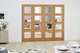 Shaker Oak 4L Prefinished FrenchFold Clear Doors Image