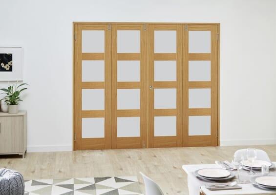 Prefinished Oak 4L Frosted Folding Room Divider (4 x 533mm Doors)