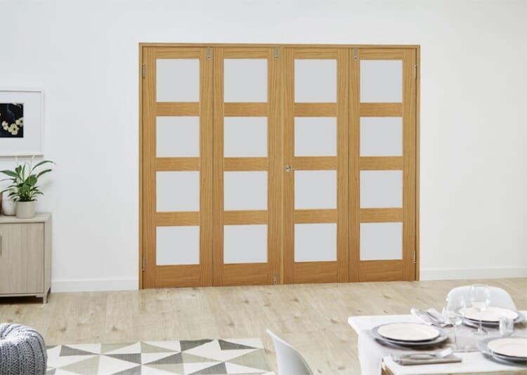 Prefinished Oak 4l French Folding Room Divider - Frosted Image