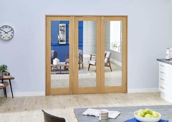 Oak French Folding Room Divider - Clear