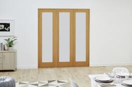 Shaker Glazed Oak FrenchFold Frosted Divider Doors Image