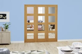 Shaker Oak 4L FrenchFold Clear Unfinished Doors Image