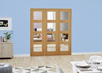 Oak 4L French Folding Room Divider - Clear
