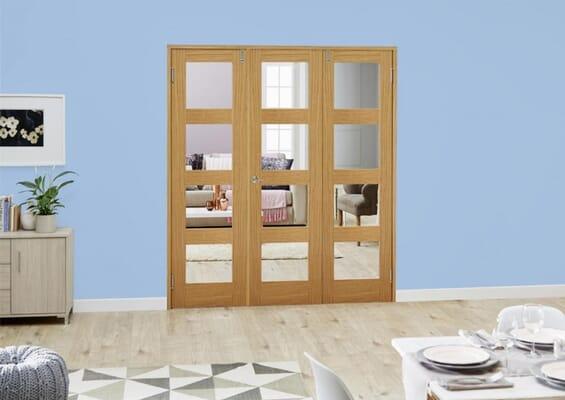 Oak 4L Folding Room Divider (3 x 610mm doors)