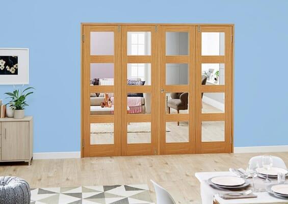 Oak 4L Folding Room Divider (4 x 686mm doors)