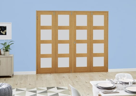 Oak 4L Frosted Folding Room Divider (4 x 533mm doors)