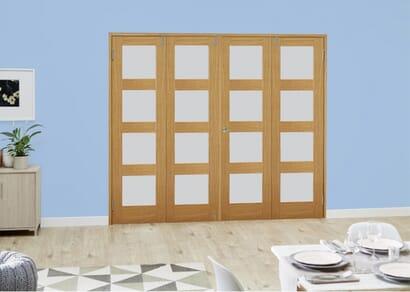 Oak 4L French Folding Room Divider - Frosted