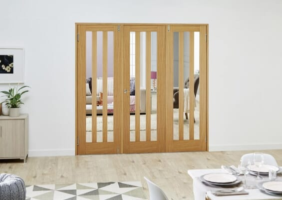 Aston Oak French Folding Room Divider - Clear