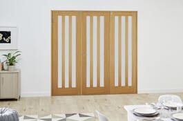 Aston Oak FrenchFold Frosted Room Divider Doors Image