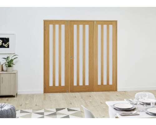 Aston Oak French Folding Room Divider - Frosted