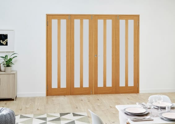 Aston Oak Frosted Folding Room Divider (4 x 686mm doors)