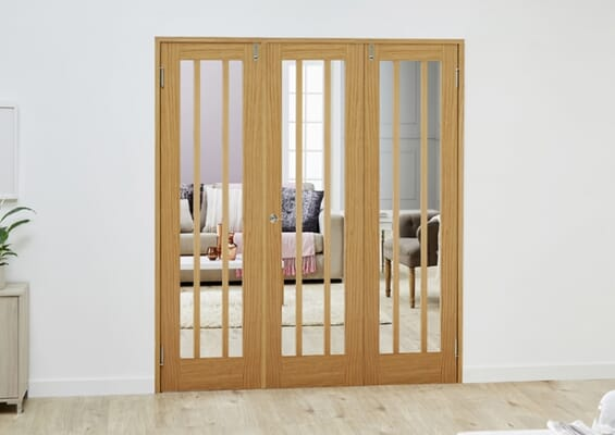 Lincoln Oak Folding Room Divider (3 x 686mm Doors)