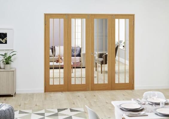 Lincoln Oak Folding Room Divider (4 x 610mm Doors)