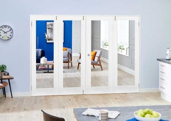 White P10 French Folding Room Divider - Clear