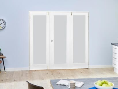 Glazed White Shaker Frenchfold Room Divider - Frosted Image