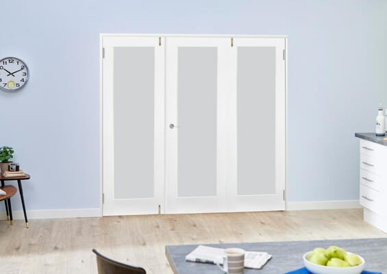 White P10 Frosted Folding Room Divider (3 x 610mm Doors)