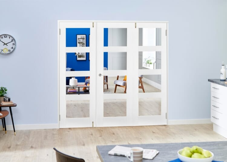 White 4l French Folding Room Divider - Clear Image