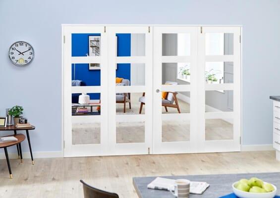 White 4L Folding Room Divider 8ft (2400mm) set