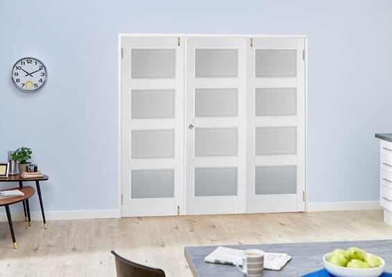 Contemporary White 4L Folding Room Divider (3 x 610mm Doors)