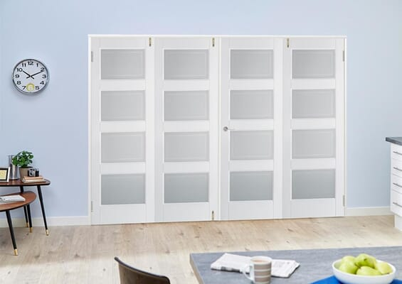 Contemporary White 4L Folding Room Divider (4 x 610mm Doors)