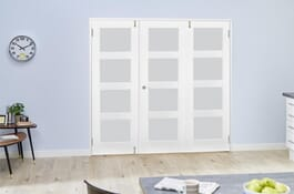 Shaker White 4L FrenchFold Frosted Doors Image