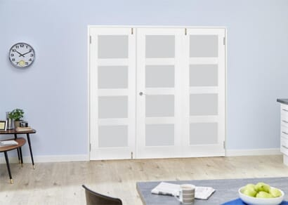 White 4L French Folding Room Divider - Frosted