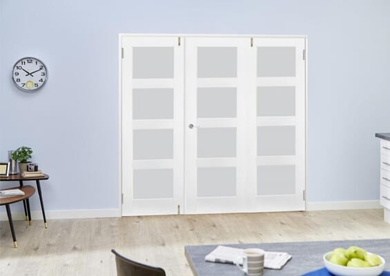 White 4L Frosted Folding Room Divider (3 x 610mm doors)