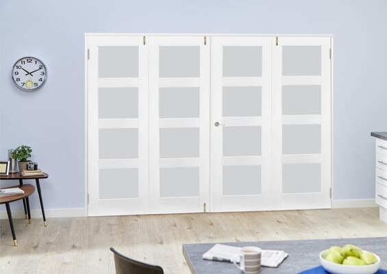 White 4L Frosted Folding Room Divider (4 x 610mm doors)
