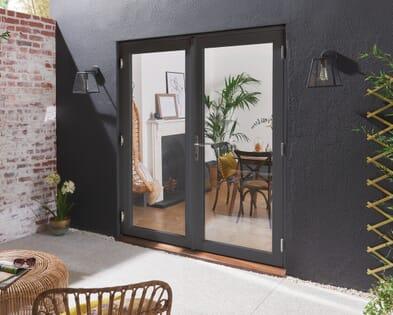 Bedgebury Anthracite Grey Hardwood French Doors