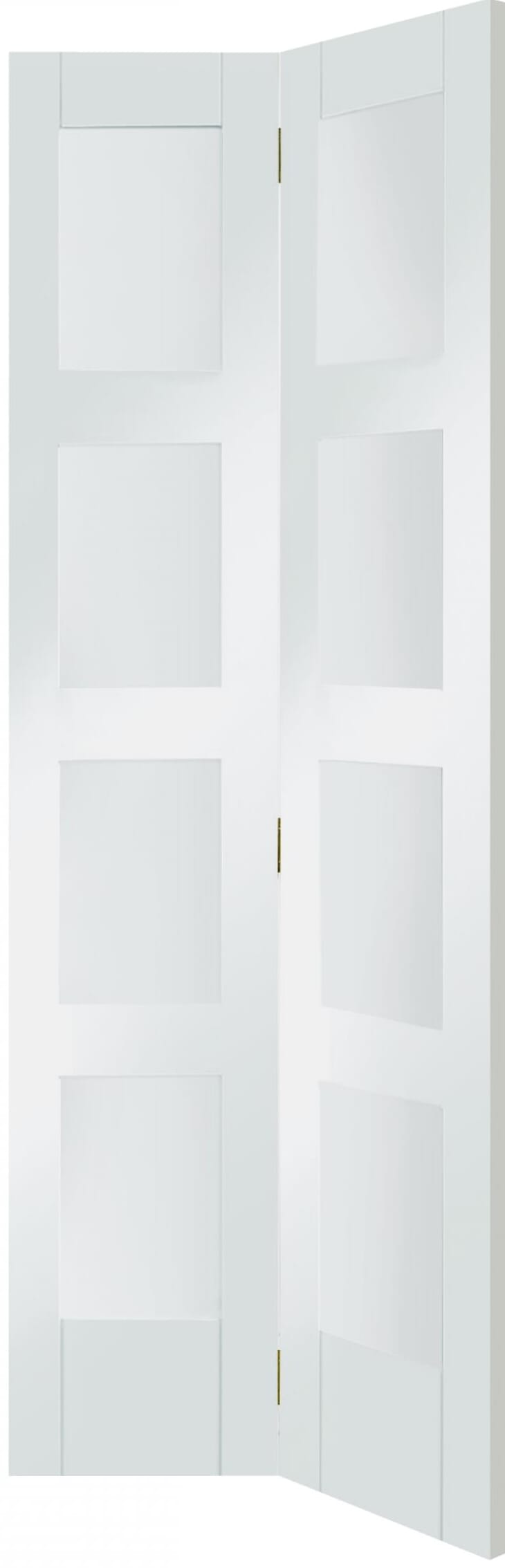 4 Light White Shaker Bi-fold - Clear Glass Image