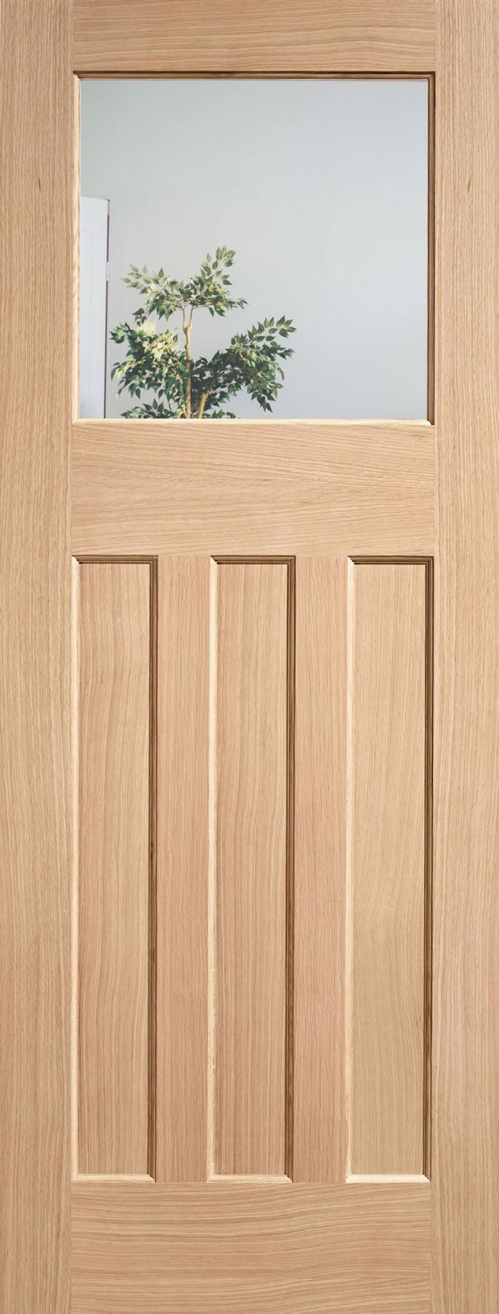 Dx 30s Style Oak Door - Clear Glass Image