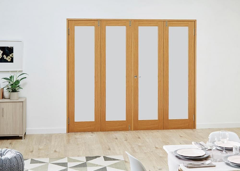 Oak French Folding Room Divider - Frosted Image