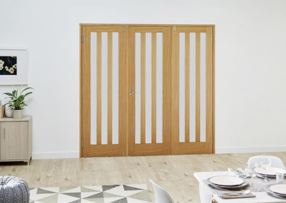 Aston Oak French Folding Room Divider - Frosted Image