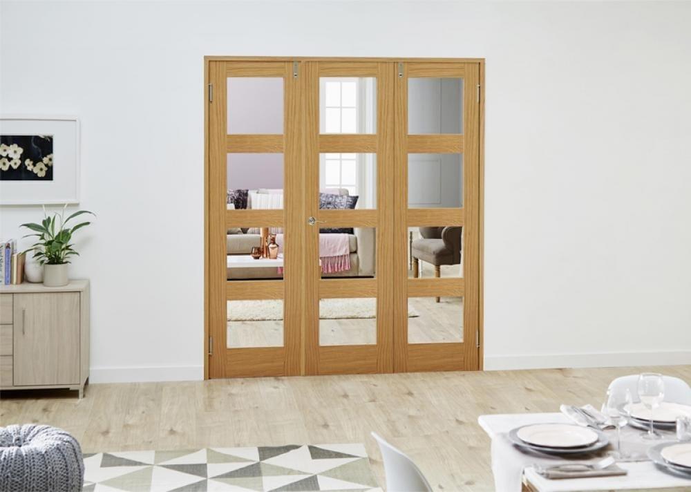 Prefinished Oak 4l French Folding Room Divider - Clear Image
