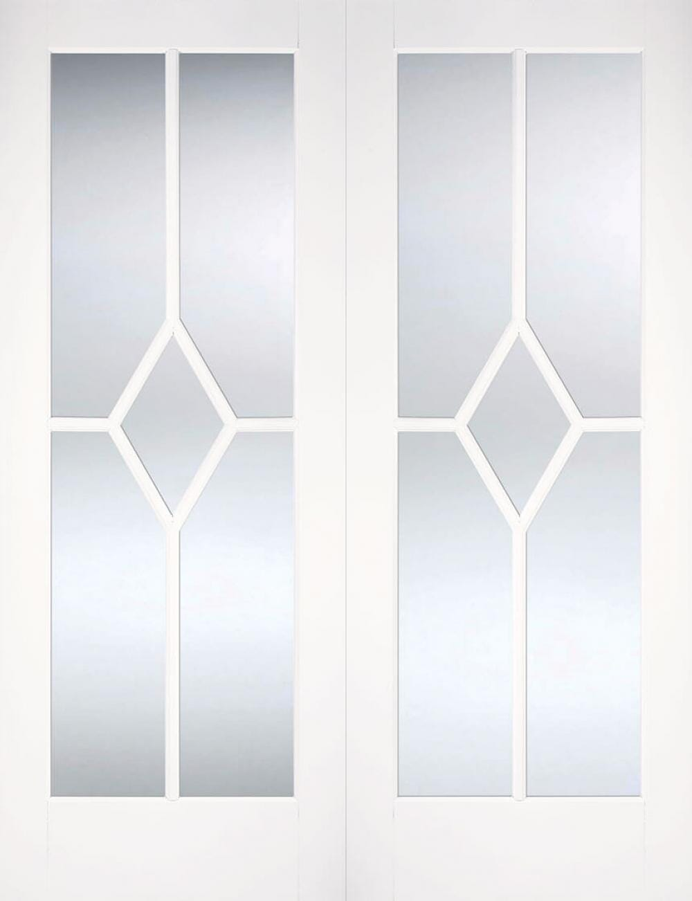 Reims White Pairs - Clear Bevelled Glass Image