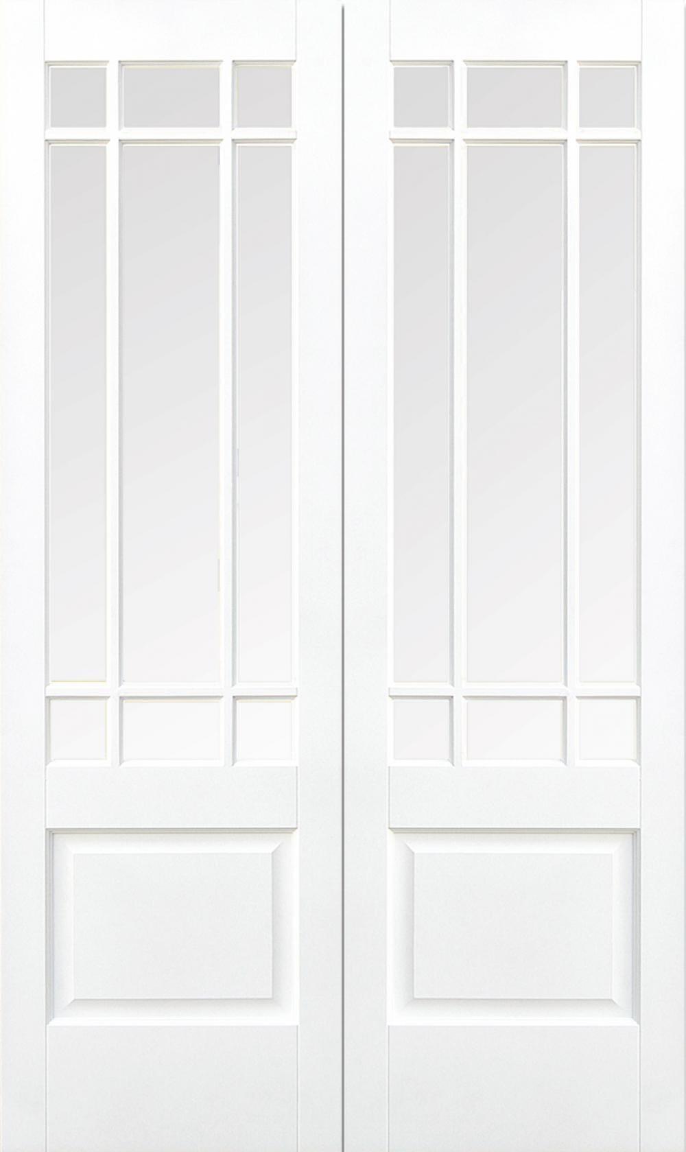 Downham White Glazed Pair - Clear Bevelled Glass Image