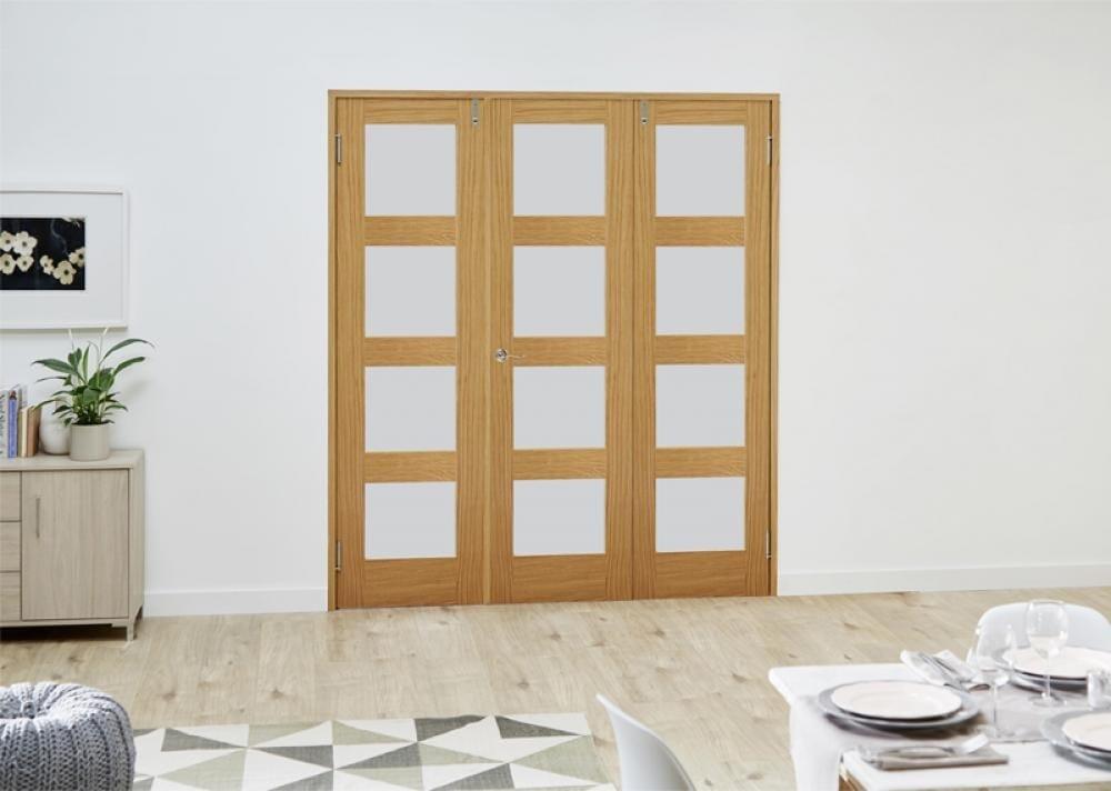 Prefinished Oak 4l French Folding Room Divider - Frosted Image
