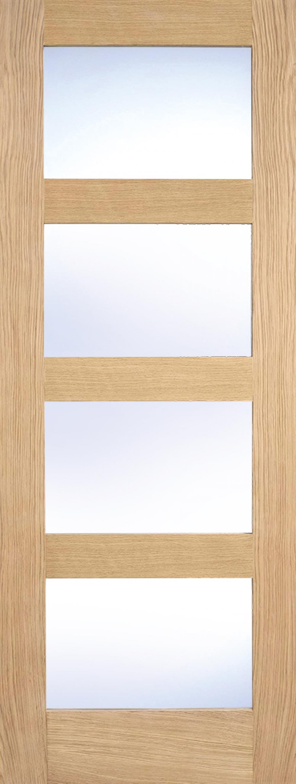 Glazed Oak 4 Light Fire Door - Clear Glass Image