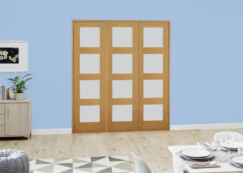Oak 4l French Folding Room Divider - Frosted Image