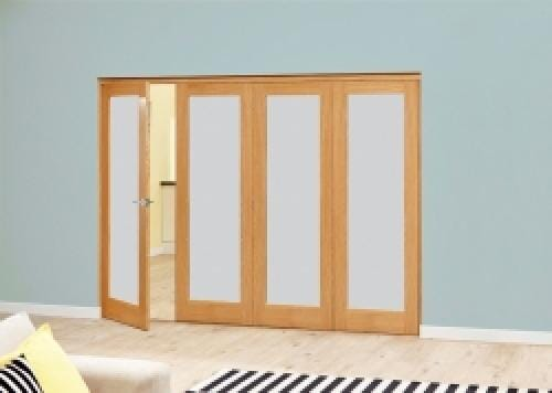 Prefinished Frosted P10 Oak Roomfold Deluxe (4 x 610mm doors)