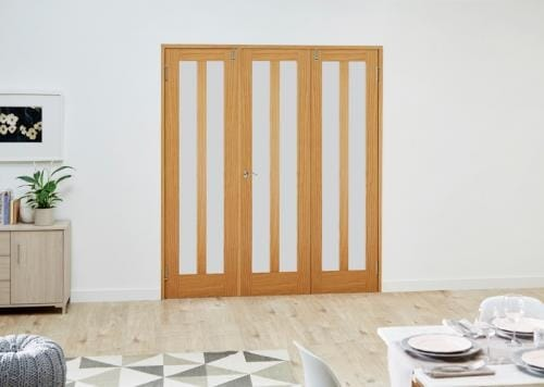 Aston Oak Frosted Folding Room Divider ( 3 x 610mm doors)