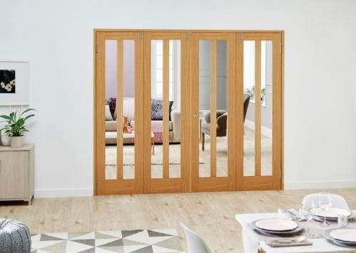Aston Oak Folding Room Divider ( 4 x 610mm doors)