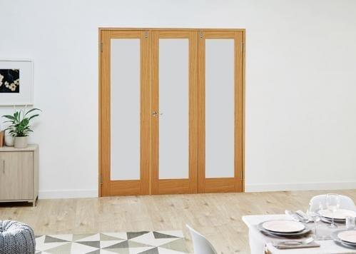 PREFINISHED Oak Frosted Folding Room Divider ( 3 x 610mm Doors)