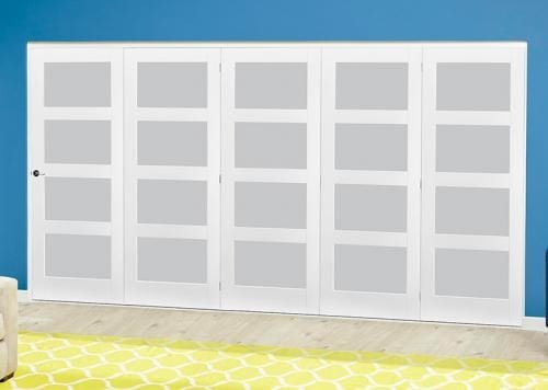 White 4L Frosted Roomfold Deluxe ( 5 x 762mm doors )